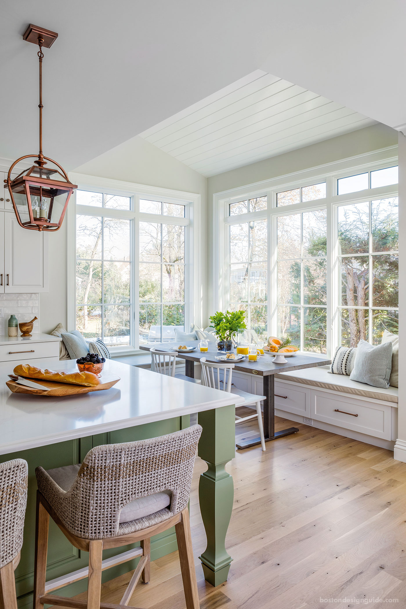 A shiplap ceiling constructed for a breakfast nook by Hawthorn Builders