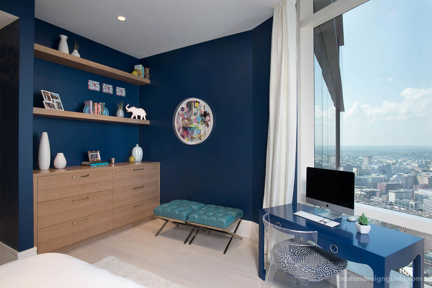 Navy bedroom in Millennium Tower penthouse