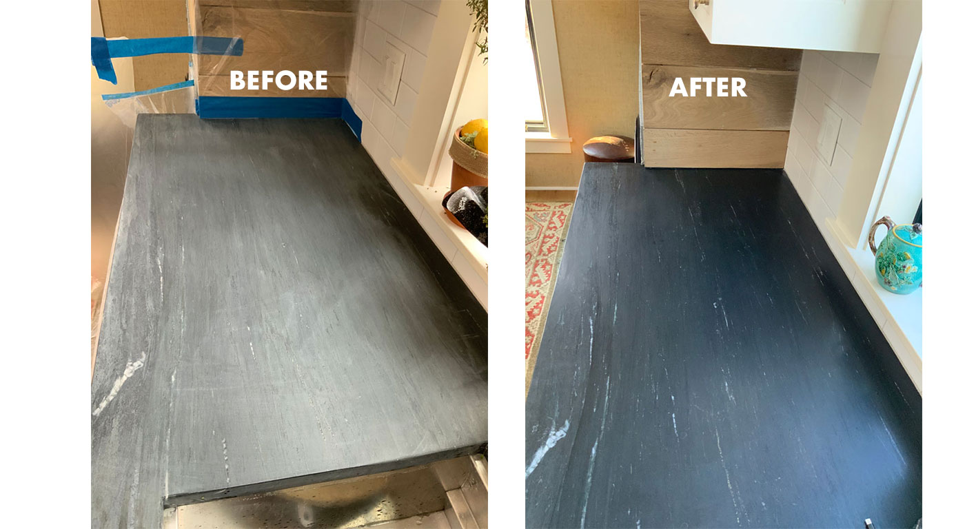 Damage removal on soapstone by Boston Stone Renovation; before and after