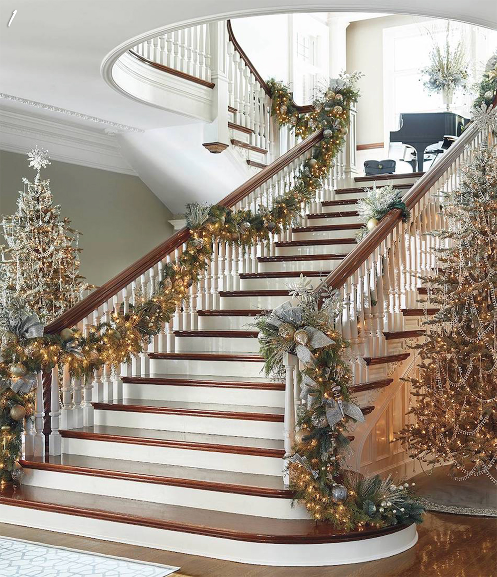 Stairway Decorated for Holidays