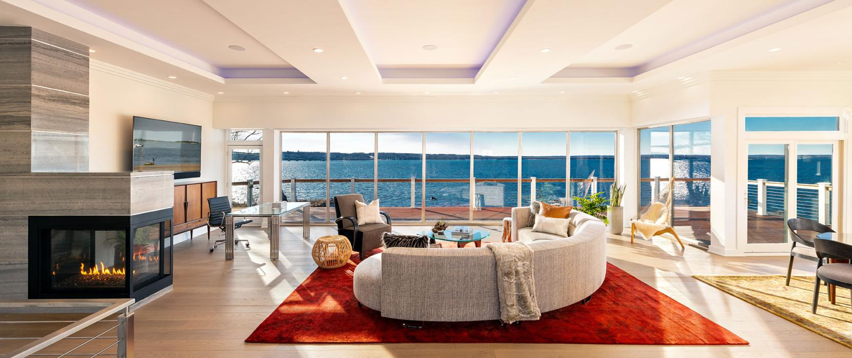 Modern living room with home integration system by SDI