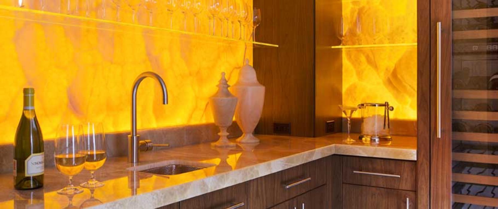 High-end custom crafted wet bar by Adams & Beasley Associates