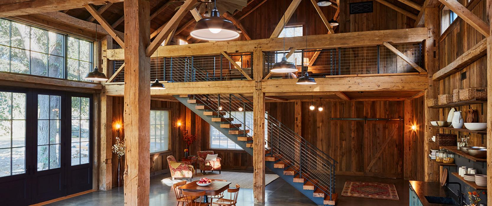 Use of exposed beams by Catherine Truman Architects
