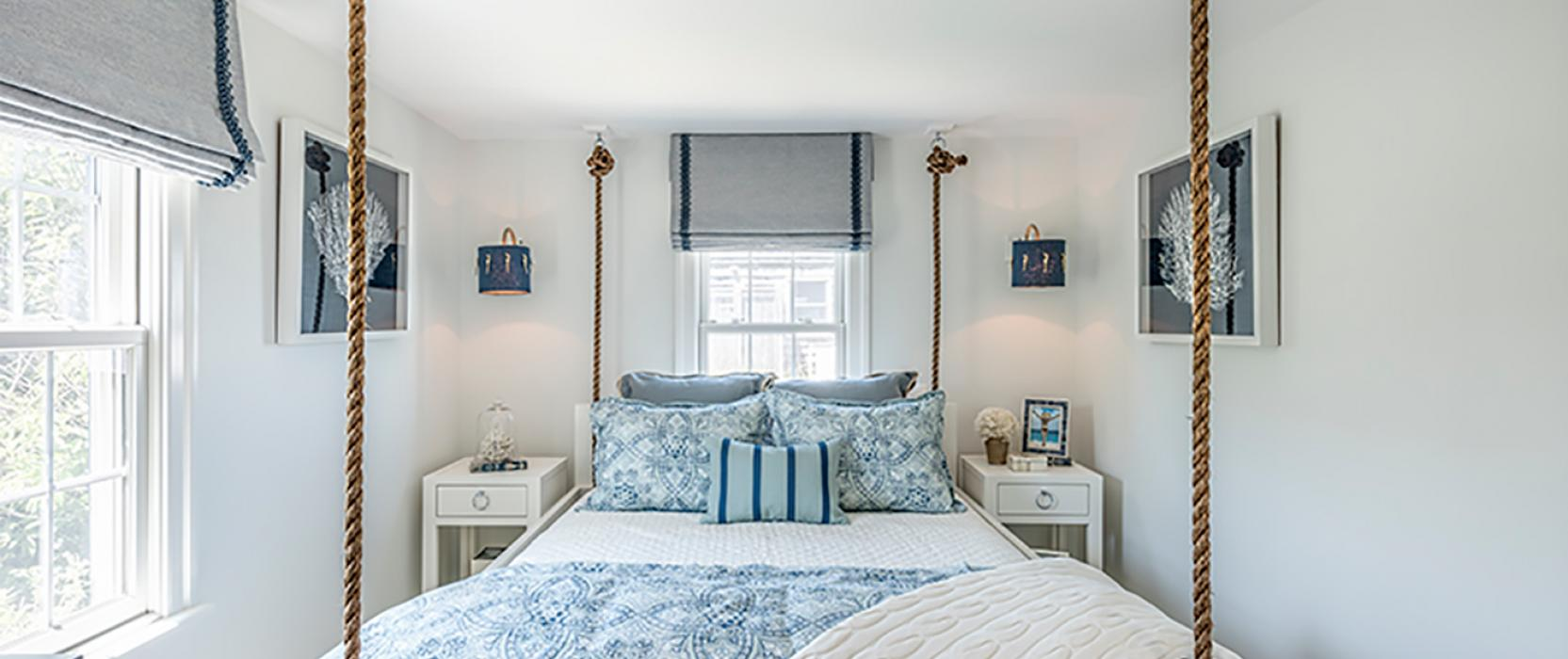 Guest bedroom with rope by Casabella Interiors