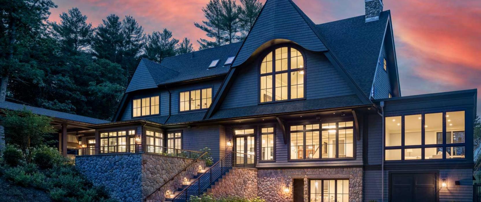 Dusk view of custom designed Needham home