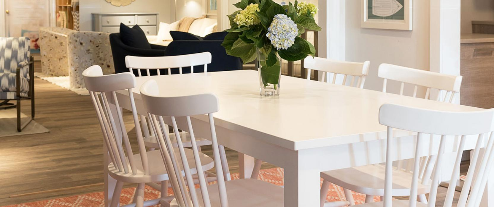 Dining room set up in Marine Home Center showroom