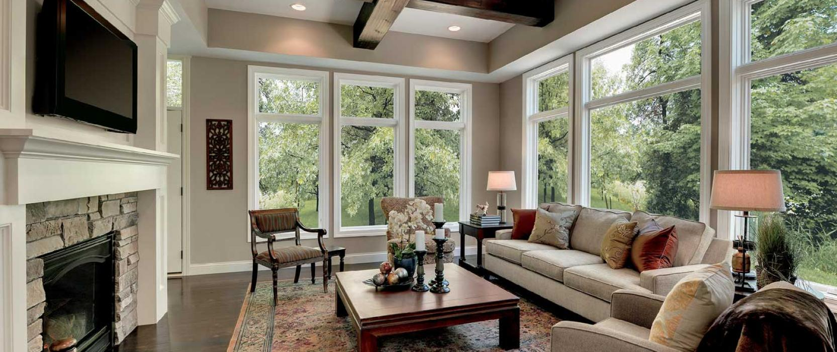 family room with large windows surrounding