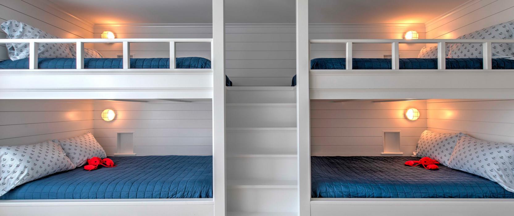 custom-designed built-in full-size bunk beds