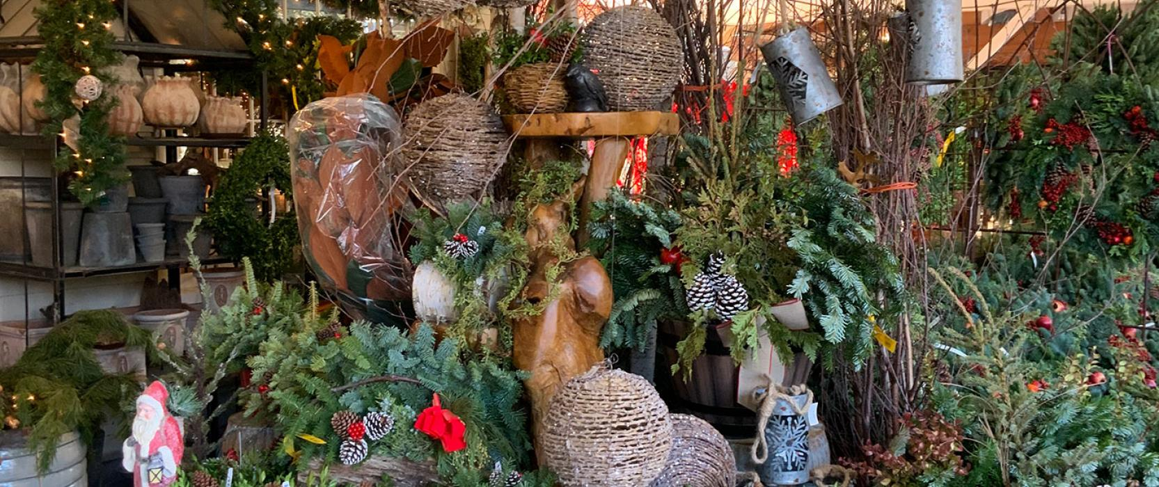 Festive holiday decorations at Stonegate Gardens in Lincoln, MA