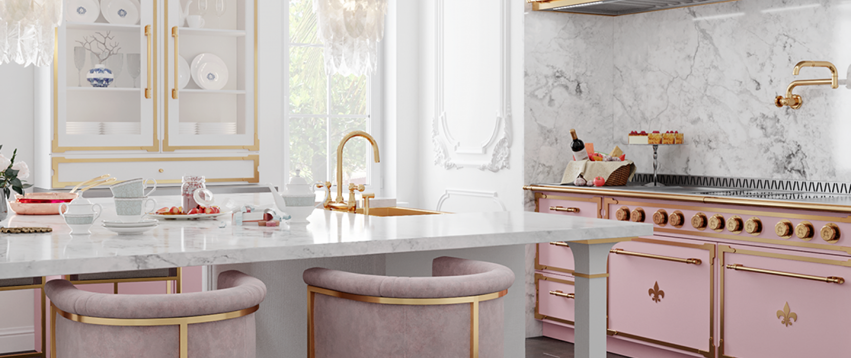 Pink L'atelier stove in bright white kitchen
