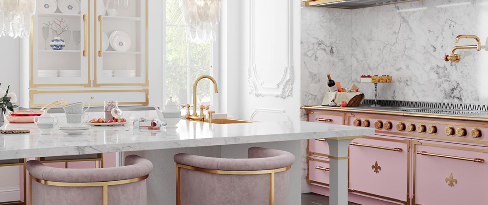 Pink L'atelier stove in bright white kitchen