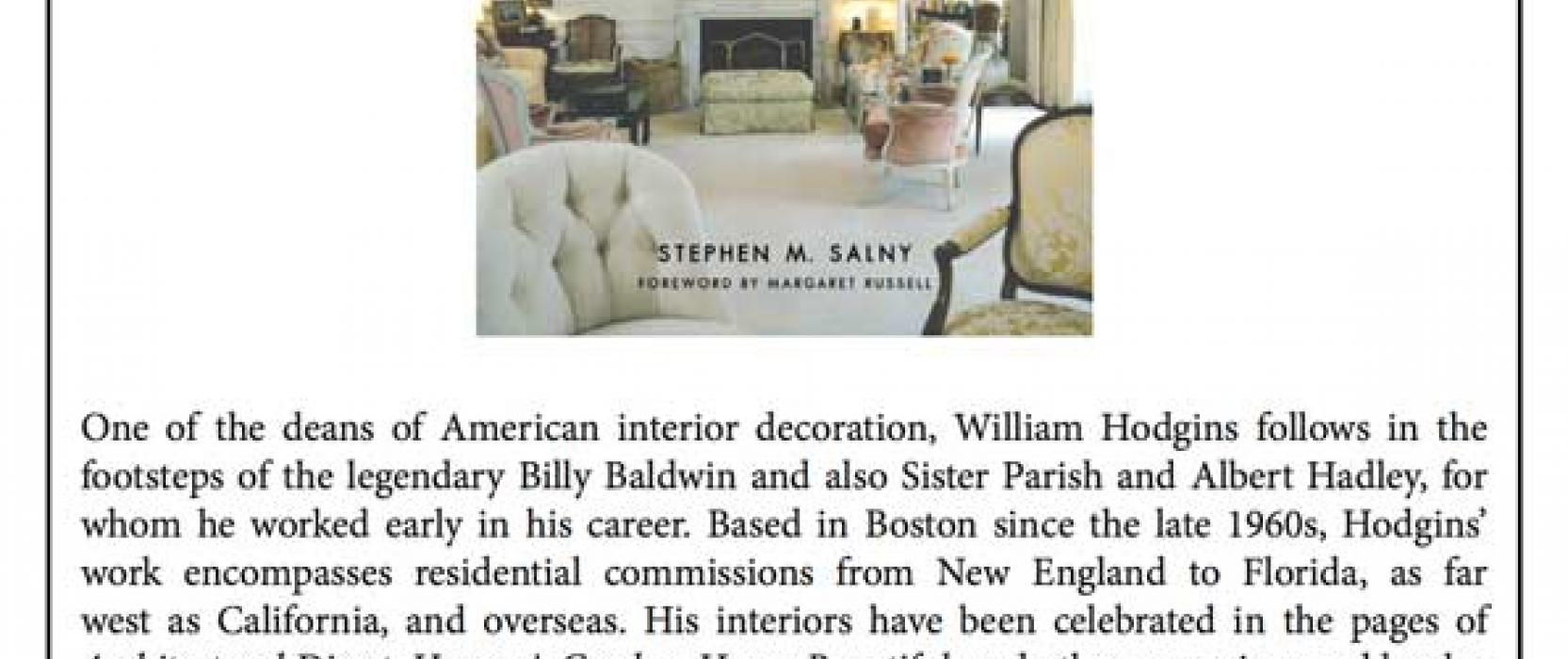 William Hodgins Interiors: Lecture and Book-signing by Author Stephen M. Salny