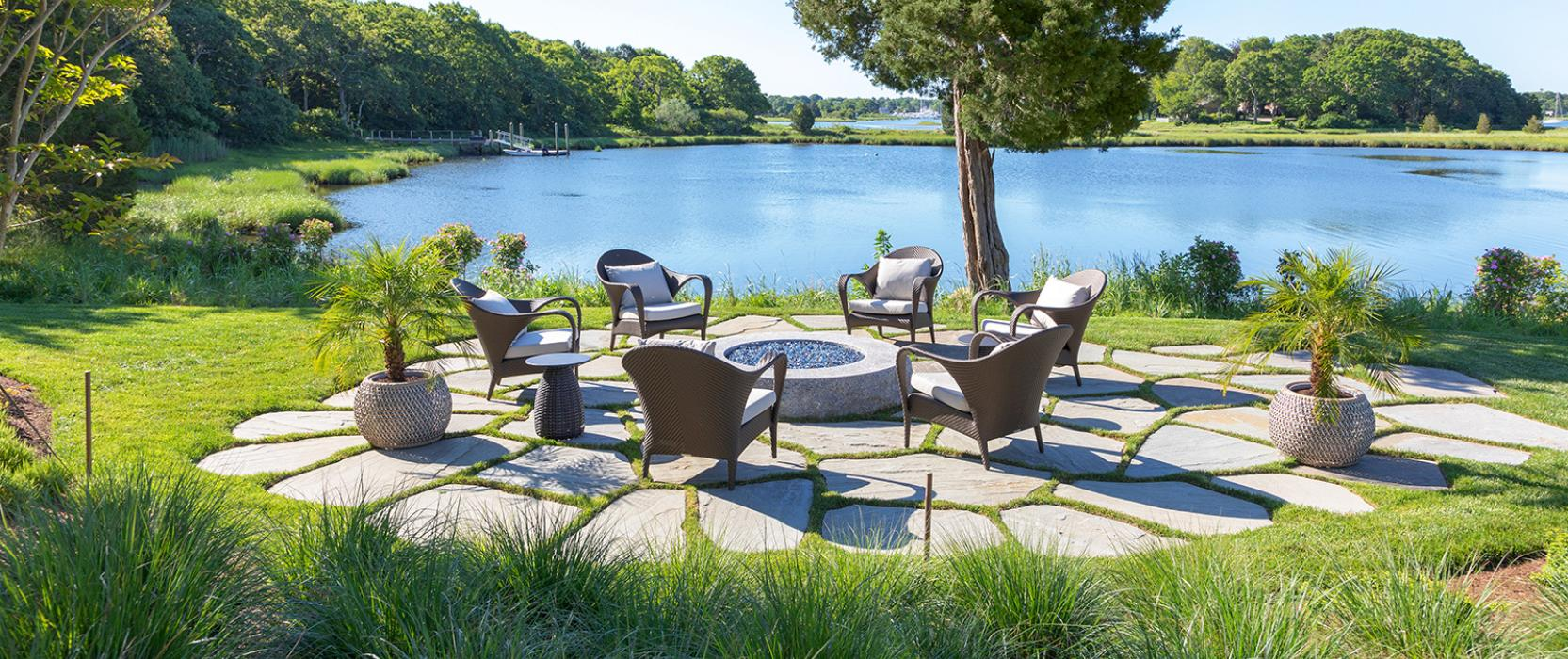 Waterside Fire Pit Terrace by Boston Area Landscape Contractor Schumacher Companies