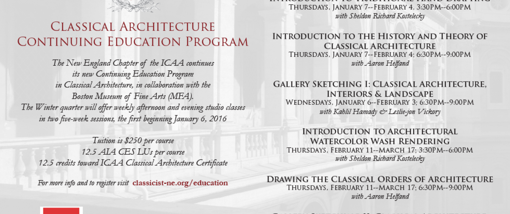 ICAA and MFA Classes in Classical Architecture