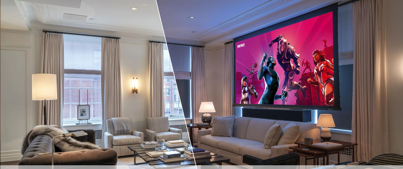 Living Room transforms into a Gaming Room by Cutting Edge Systems Corp.