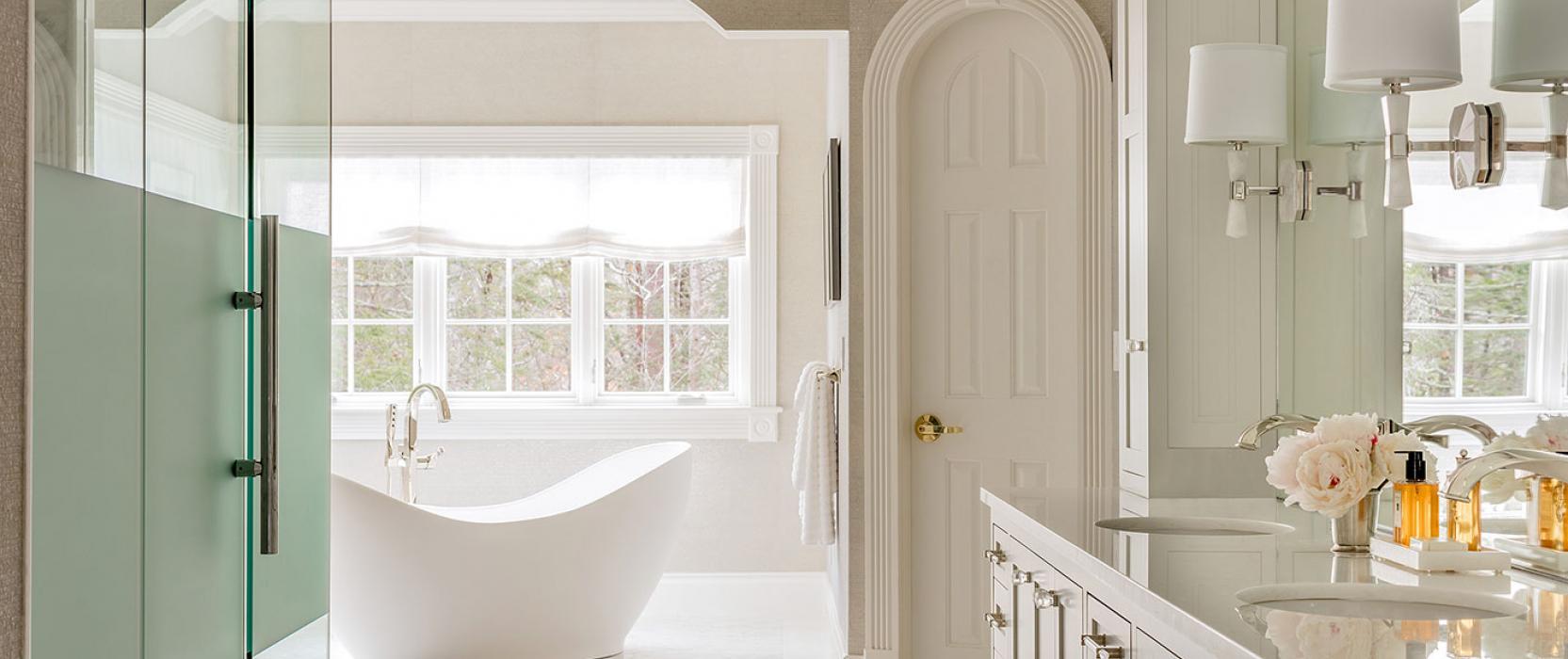 High-end master bath custom designed by Betsy Bassett Interiors