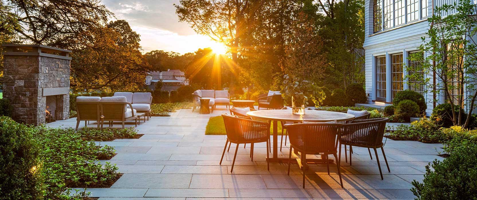 sunset on back patio