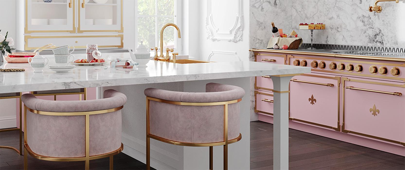 L'Atelier pale pink stove in white custom kitchen with pale pink stools and marble coungertops