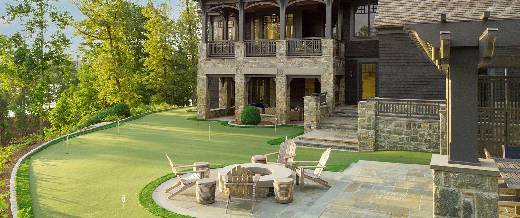 putting green next to a house