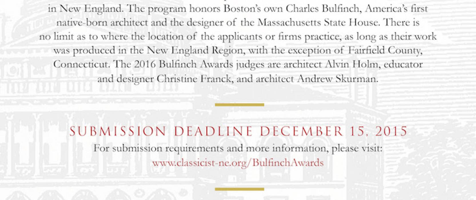 The Sixth Bulfinch Awards