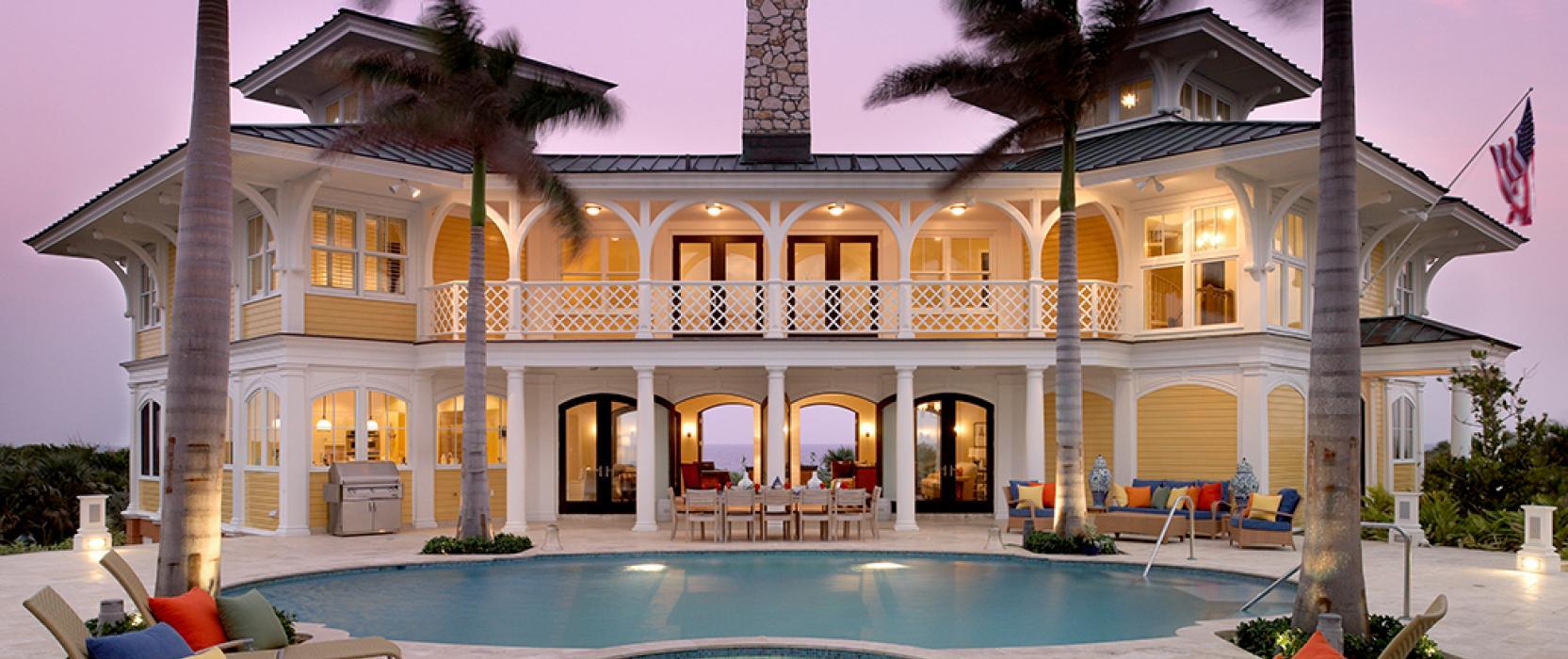 Architecture New England, Manhattan, Miami, California, the Carolinas, Nevis, the Bahamas