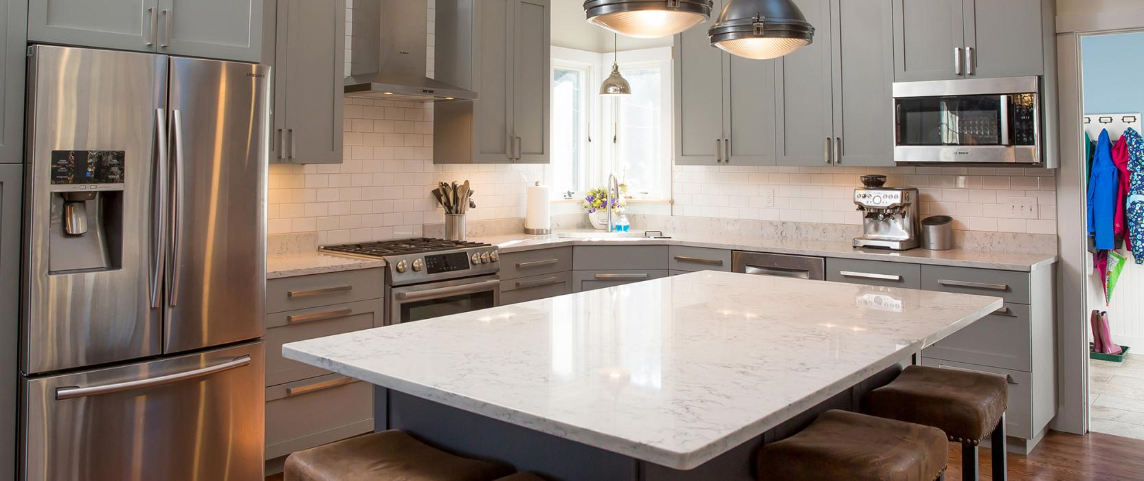 Kitchen island design on Martha's Vineyard