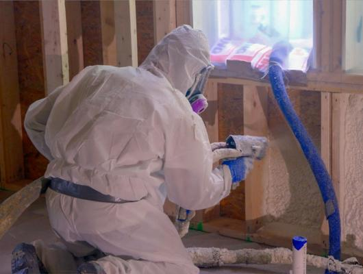 Closed cell spray foam application by Anderson Insulation