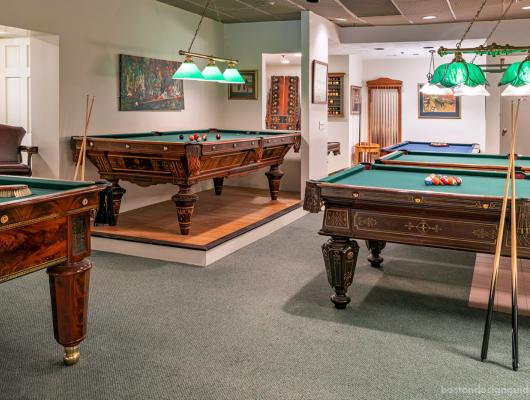 The showroom at Boston Billiard Emporium