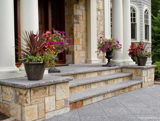 front entry way stone steps