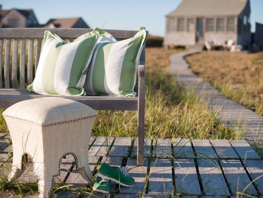 Striped outdoor pillows at Nantucket Looms