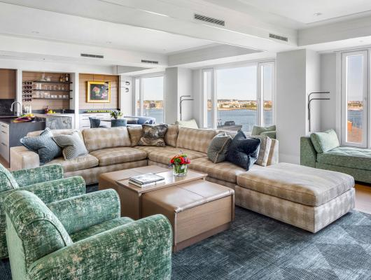 living area with views of the harbor