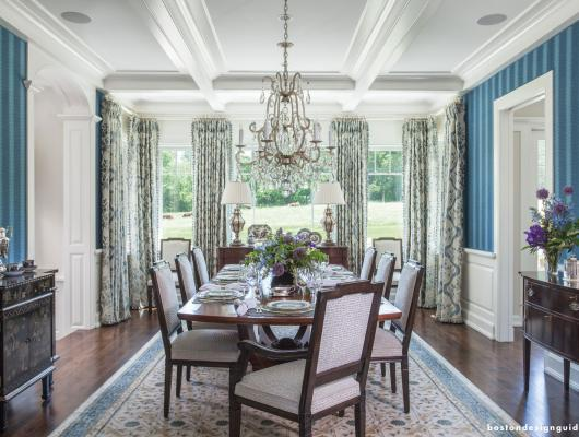 Elegant dining room design for a country manor by Kotzen Interiors