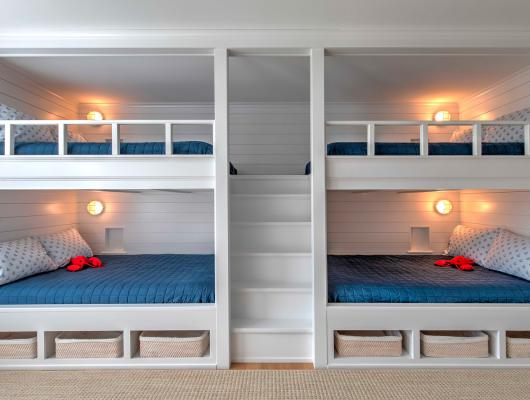 custom-designed built-in full-size bunk beds