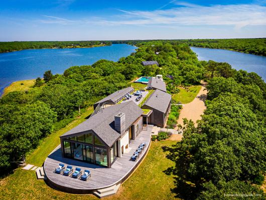 overhead view of Martha's Vineyard house surrounded by water