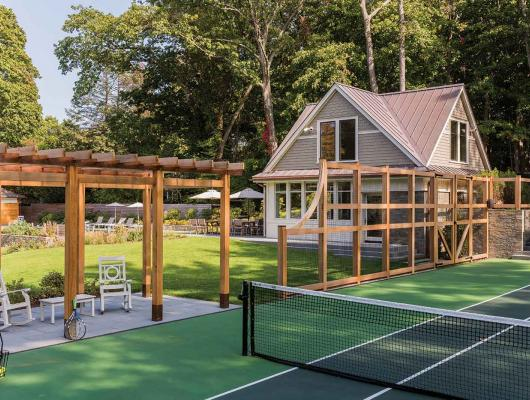 Tennis court design by Matthew Cunningham Landscape Design