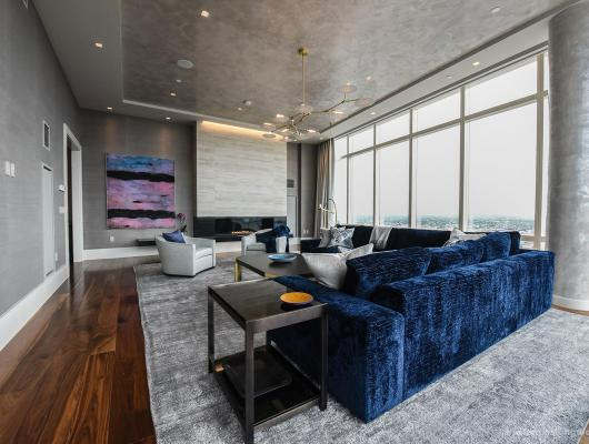 Navy accents in custom luxury condo