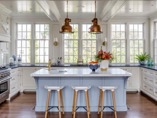 Timeless blue and white kitchen constructed by Whitla Brothers Builders and designed by Patrick Ahearn Architect