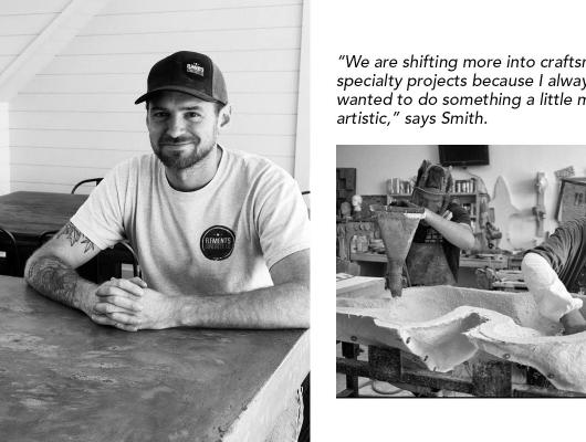 Joren Smith sitting at one of his custom made concrete tables and workers customizing a countertop