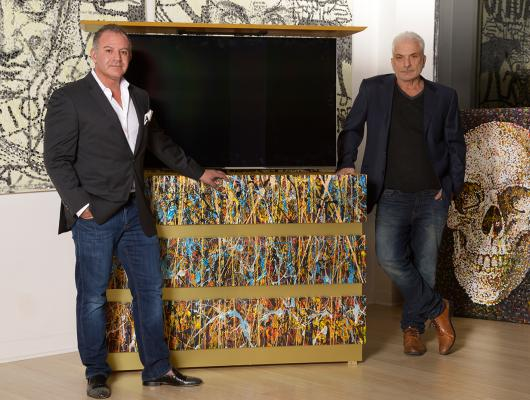 TV cabinet with splash art