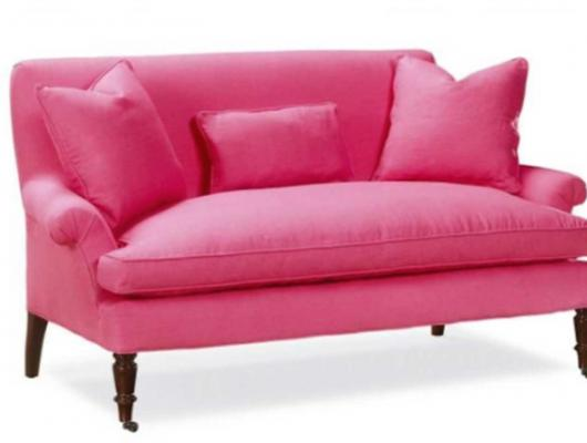 Pink traditional love seat with rolled arms by LEE Industries available at Surroundings Home