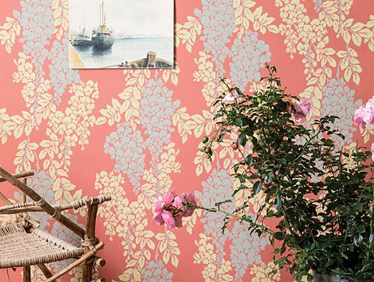 Wisteria coral wallpaper by Farrow & Ball