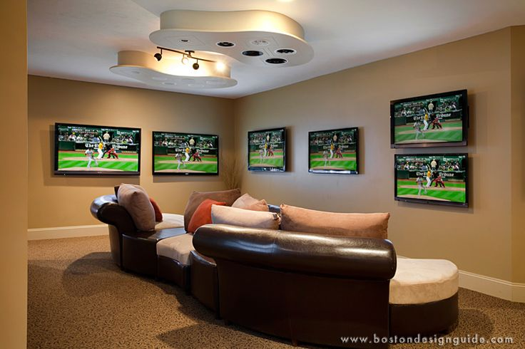 Man Cave With Multiple Tvs : Superbowl man caves boston design guide