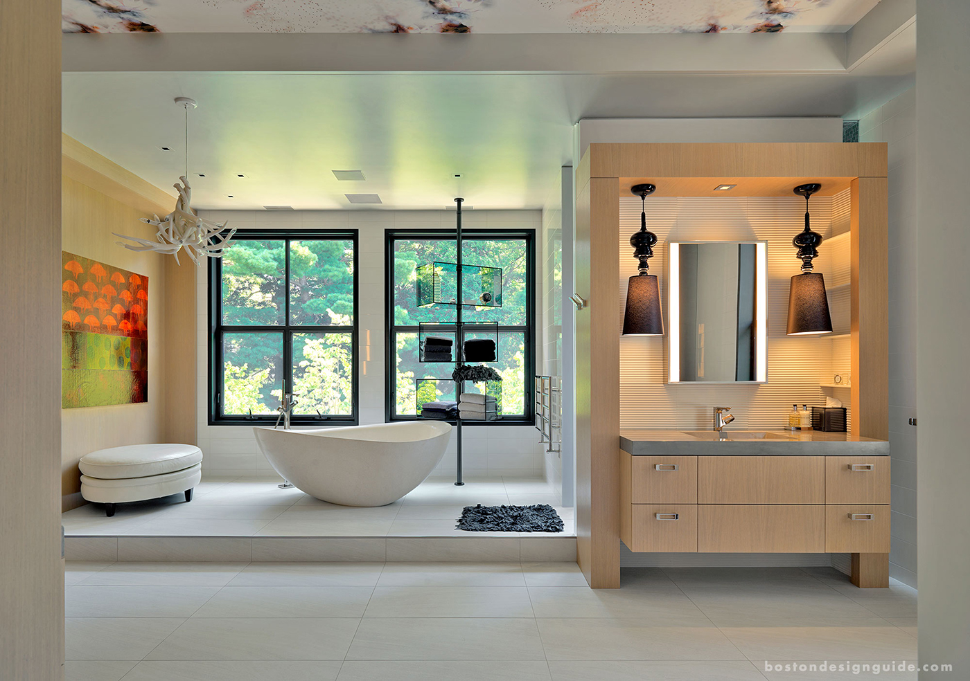 High end master bath with nature