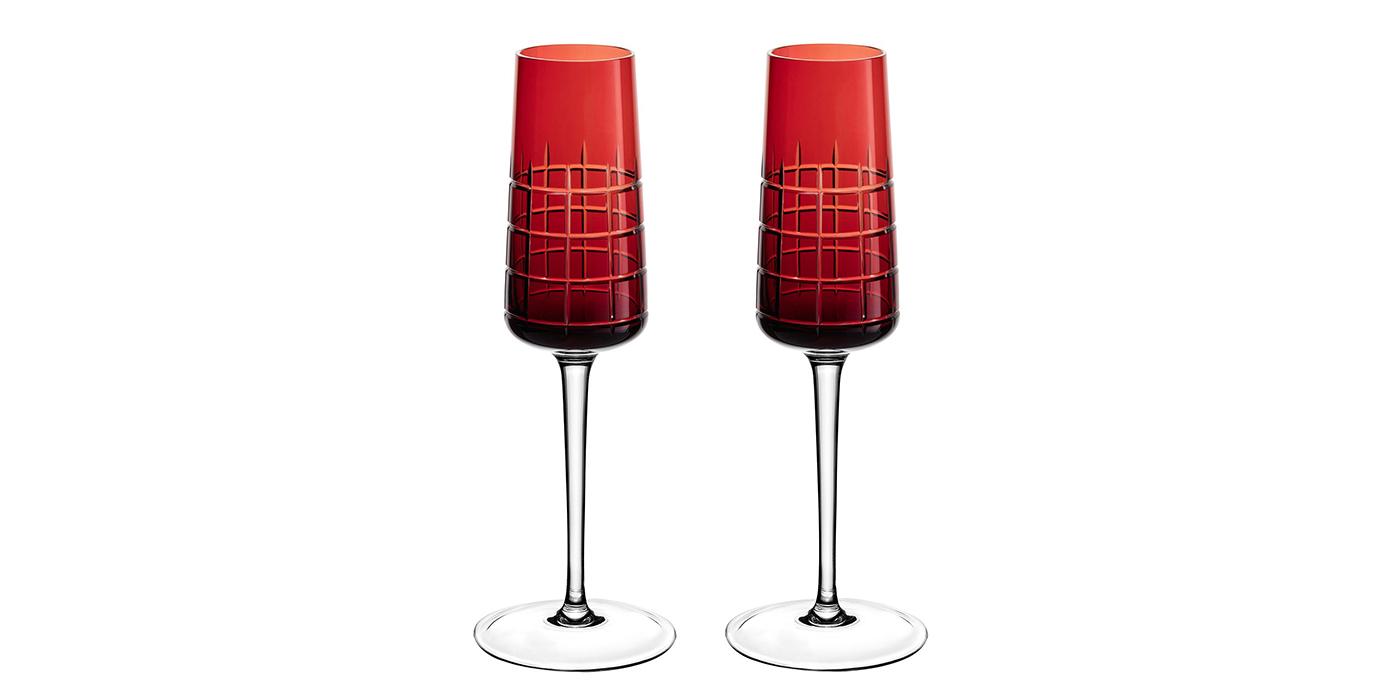 Christofle red crystal flutes