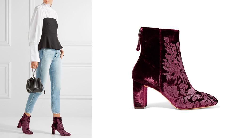 Alexandre Birman – Regina flocked velvet ankle boots (Net-A-Porter)