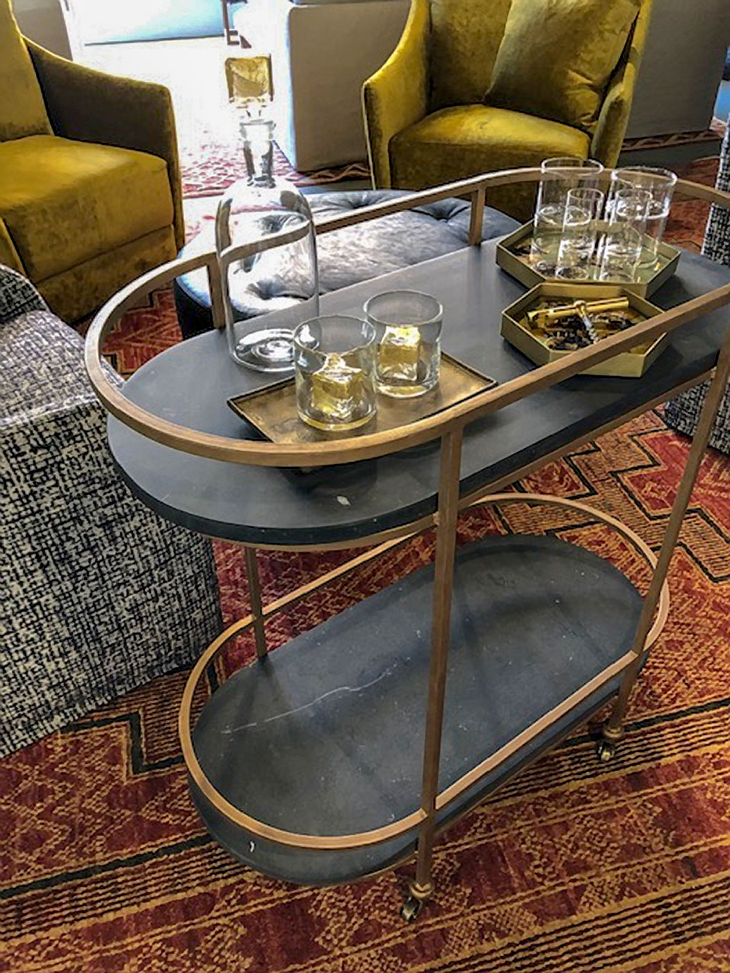 High-end portable bar cart designed for ARTEFACT Home