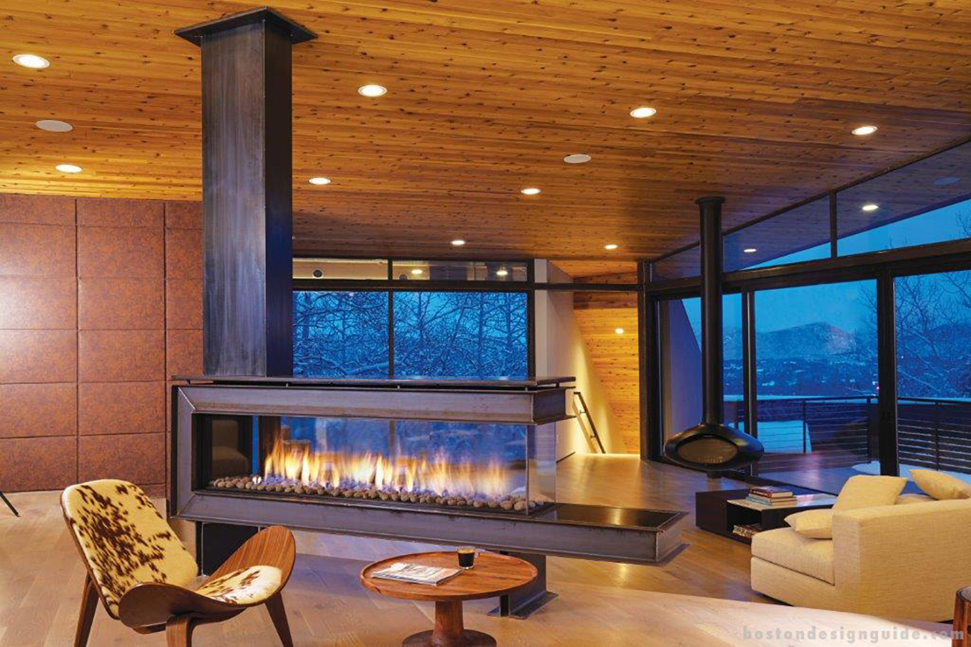 See-through glass fireplace