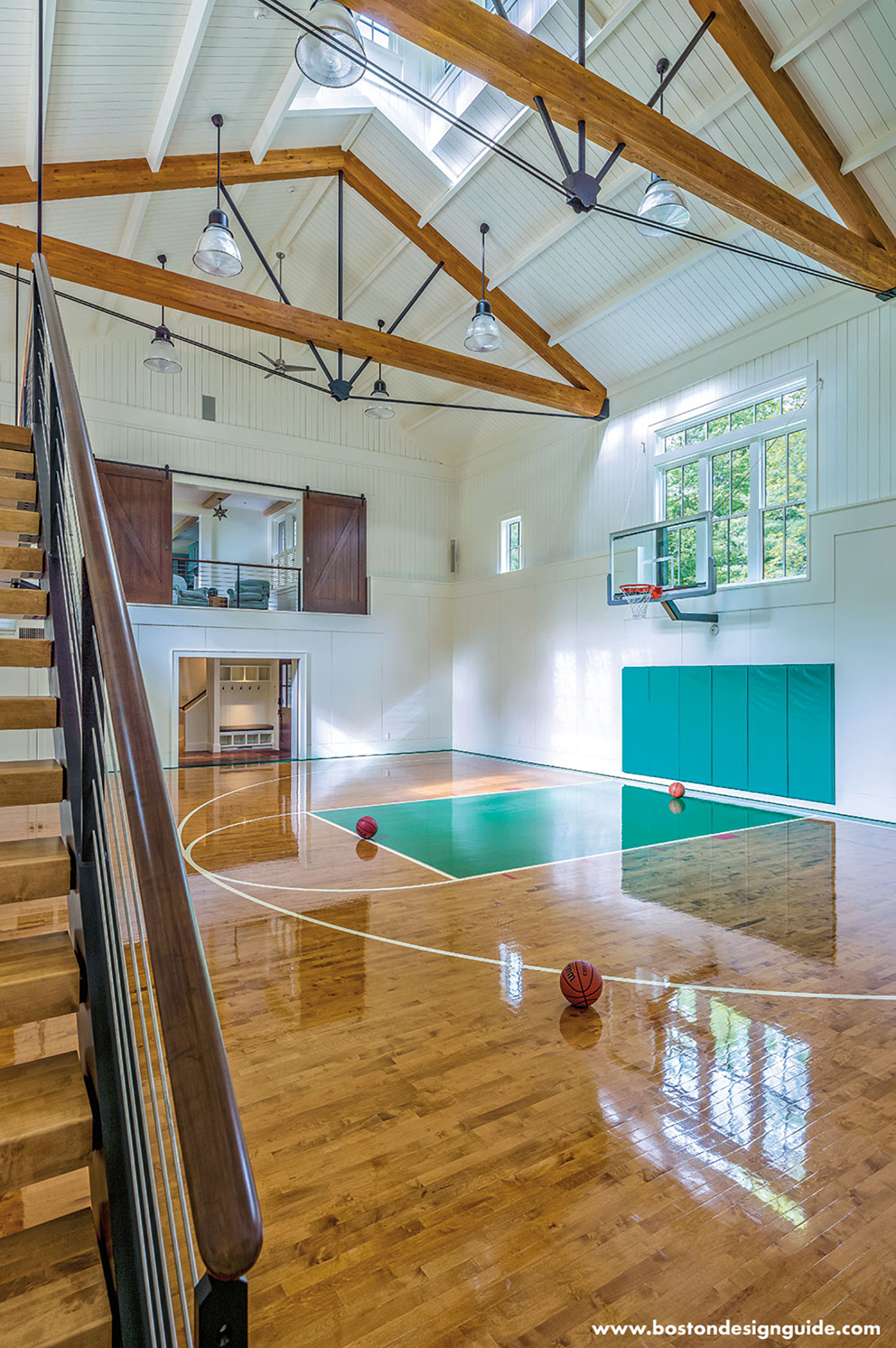 custom basketball court in barn