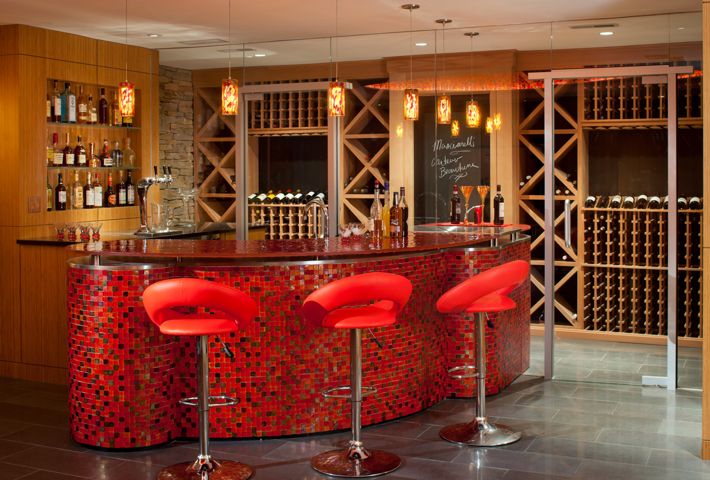 Red cellar wine bar by Kistler & Knapp Builders, designed by LDa Architecture & Interiors