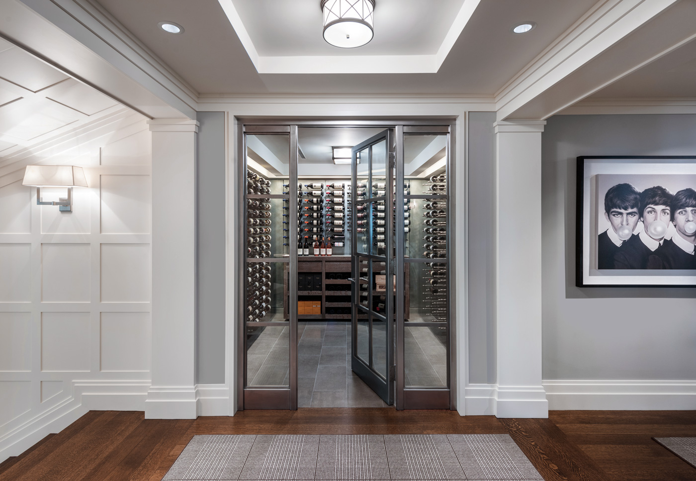 Wine vault for a high-end suburban Boston home designed by MGa | Marcus Gleysteen Architects